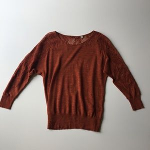 Knitted & Knotted Lace Dolman Sleeve Sweater XS